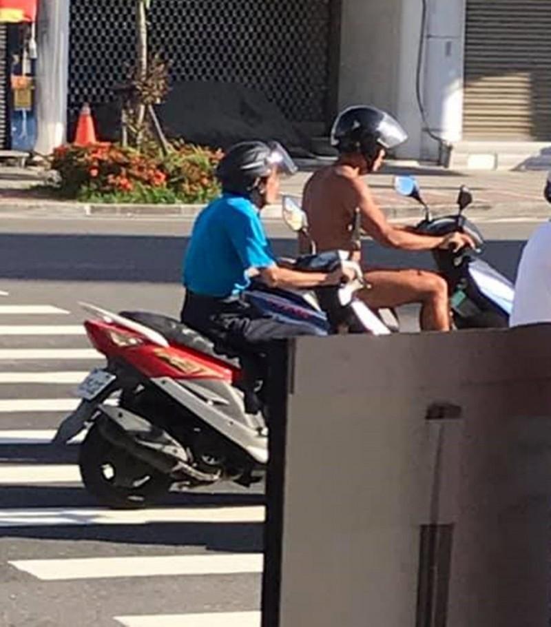 阿伯戴安全帽穿三角褲騎機車逛大街 網友:太誇張