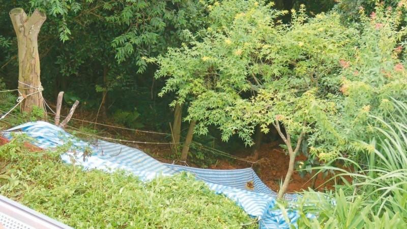 暴雨沖刷 龍潭邊坡崩塌距民宅不到10公尺 市府急蓋帆布
